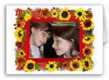 sunflower photo frame card at zazzle