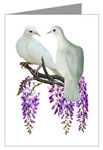doves in wisteria card at cafepress