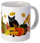 black cat in leaves and pumpkins mug at cafepress