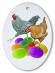 chicken with colored eggs ornament at CafePress