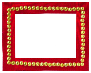 gold beads red ribbon small frame