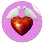 doves on heart stickers at zazzle