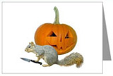squirrel carving jack-o-lantern card