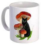 Black Cat Mushrooms mug by catsclips.