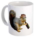 squirrel drinking beer mug