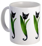 kitty tulips mug